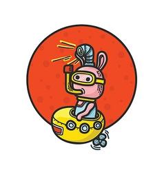 Rabbit in Yellow Submarine Hand Drawn vector image vector image