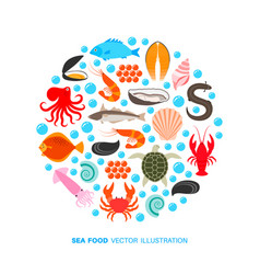 seafood and fish icons vector image