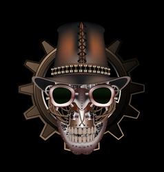 Steampunk skull wearing top hat vector image vector image