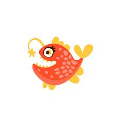 angler fish funny sea creature hand drawn vector image vector image