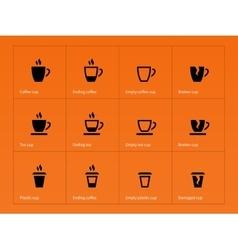 Coffee mug icons on orange background vector image