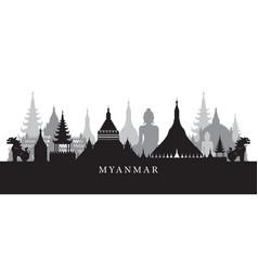myanmar landmarks skyline in black and white vector image