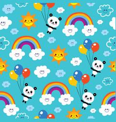 panda bear rainbows clouds sky kids pattern vector image