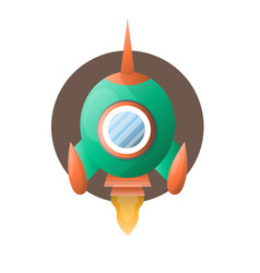 round space rocket with sharp end flies up vector image vector image