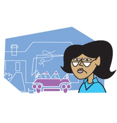 Woman at an accident vector image vector image