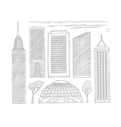 black and white set of sketch vector image