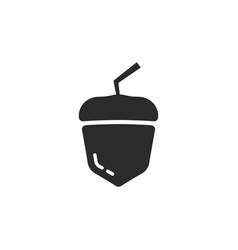 black simple acorn icon vector image
