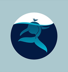 Blue whale with seagull underwater sign emblem vector