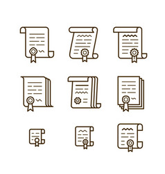 contract line icons vector image vector image