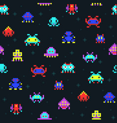 Cute pixel robots space invaders retro video vector