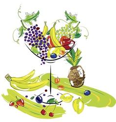 fruit dessert cocktail vector image vector image