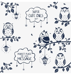 owls funny vector image vector image