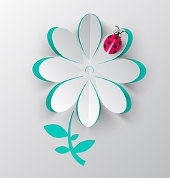 Paper Cut Flower with Ladybird Bug vector image