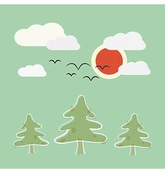 Retro Flat Design Nature Landscape with Sun Trees vector image