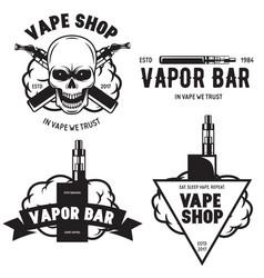 set of vape e-cigarette emblems labels prints and vector image