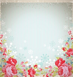 Vintage card with red roses and snowflakes vector image vector image
