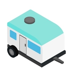 Camping trailer 3d isometric icon vector