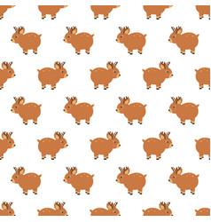 christmas wooden reindeer seamless pattern vector image vector image
