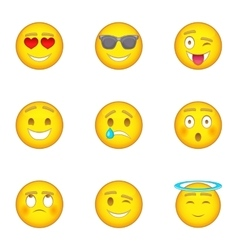 Emotional funny face icons set cartoon style vector image vector image