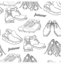 hand drawn seamless pattern men footwear casual vector image vector image