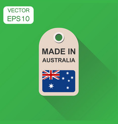 Hang tag made in australia with flag icon vector