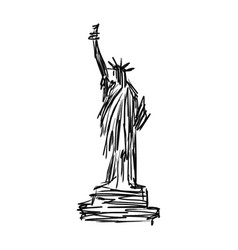 statue of liberty sketch hand drawn vector image