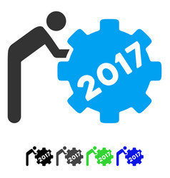 2017 worker rolling gear flat icon vector