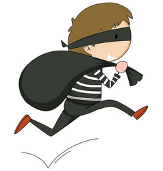 A thief doodle cartoon character isolated vector