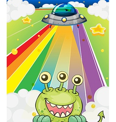 A three-eyed monster near spaceship vector