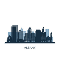 albany skyline monochrome silhouette vector image