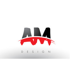 Am a m brush logo letters with red and black vector