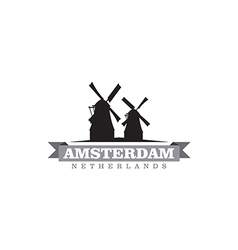 Amsterdam Netherlands city symbol vector image