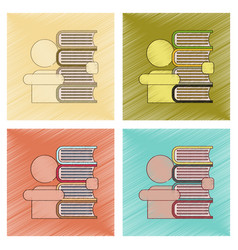 Assembly flat shading style icon schoolboy books vector