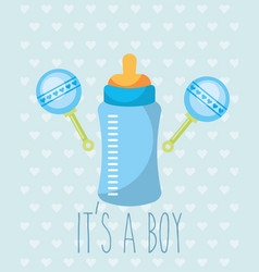 Blue feeding bottle rattles toy its a boy card vector