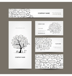 Business cards collection with frames tree design vector