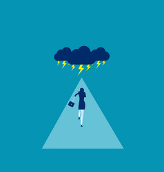 Businesswoman facing storm concept business vector