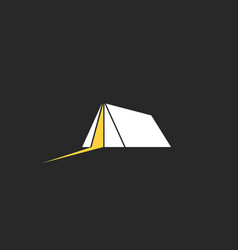 camping tent logo travel and adventure night camp vector image