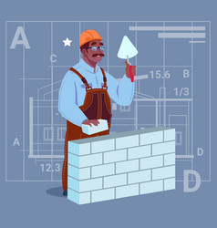 Cartoon african american builder laying brick wall vector