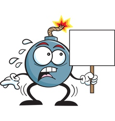 Cartoon bonb holding a sign vector