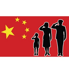 China soldier family salute vector image