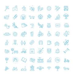 City park icons set open plot land vector