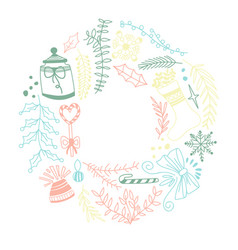 Colored ornament round frame sketch composition vector