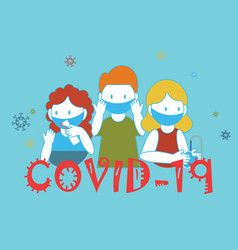 Covid-19 hygiene promotion with wearing a face vector