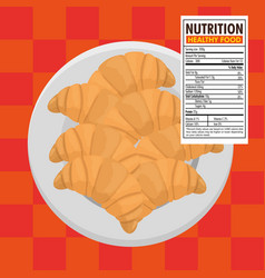Croissant bread with nutrition facts vector