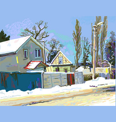 Digital painting of winter ukrainian rural vector