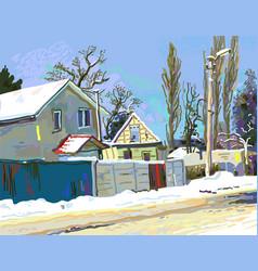 Digital painting winter ukrainian rural vector