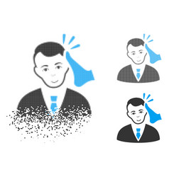 Dispersed dot halftone kickboxer victim icon with vector