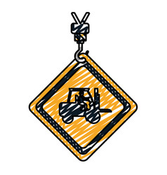 Doodle caution diamond emblem with laborer in vector