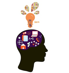 Education concept with head silhouette and light vector