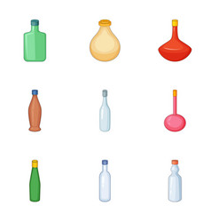 Emprty bottle icons set cartoon style vector